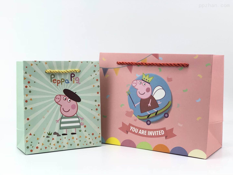 卡通礼品袋 手提纸袋 小猪佩奇生日回礼袋