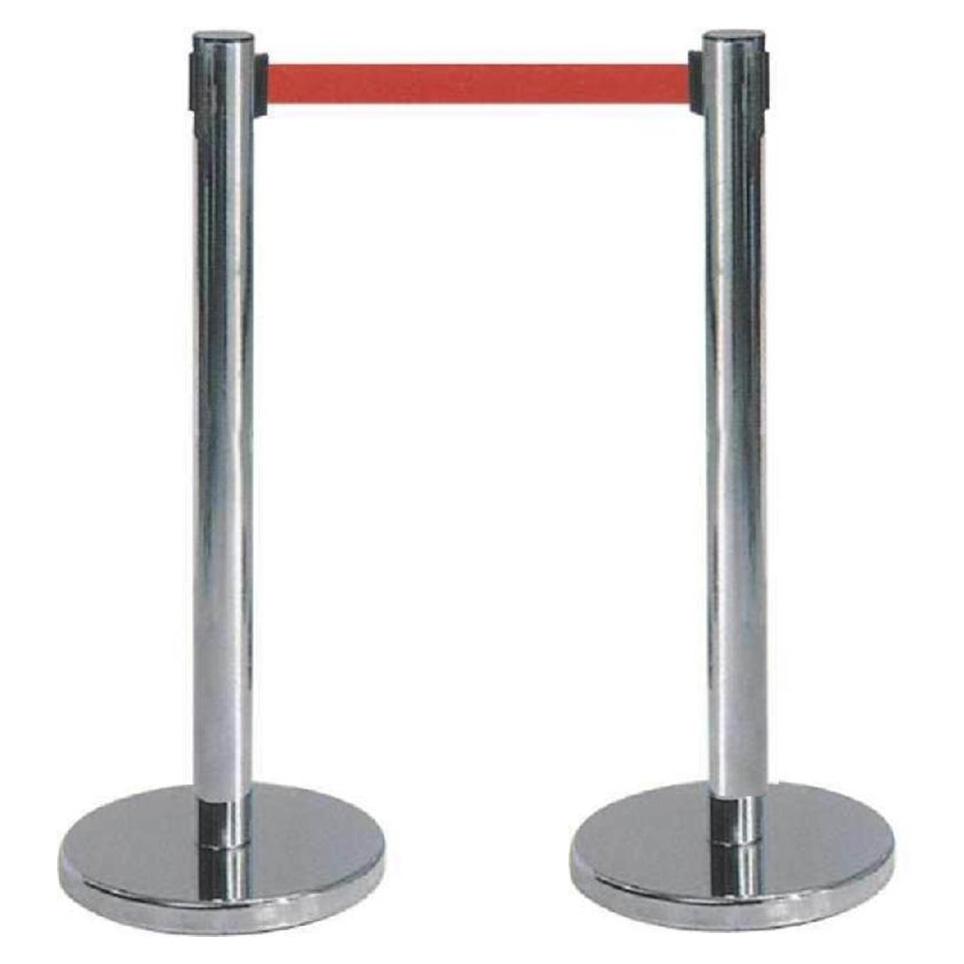 西安一米线栏杆隔离带伸缩带警戒带警戒线栏杆西安不锈钢伸缩带隔离带一米